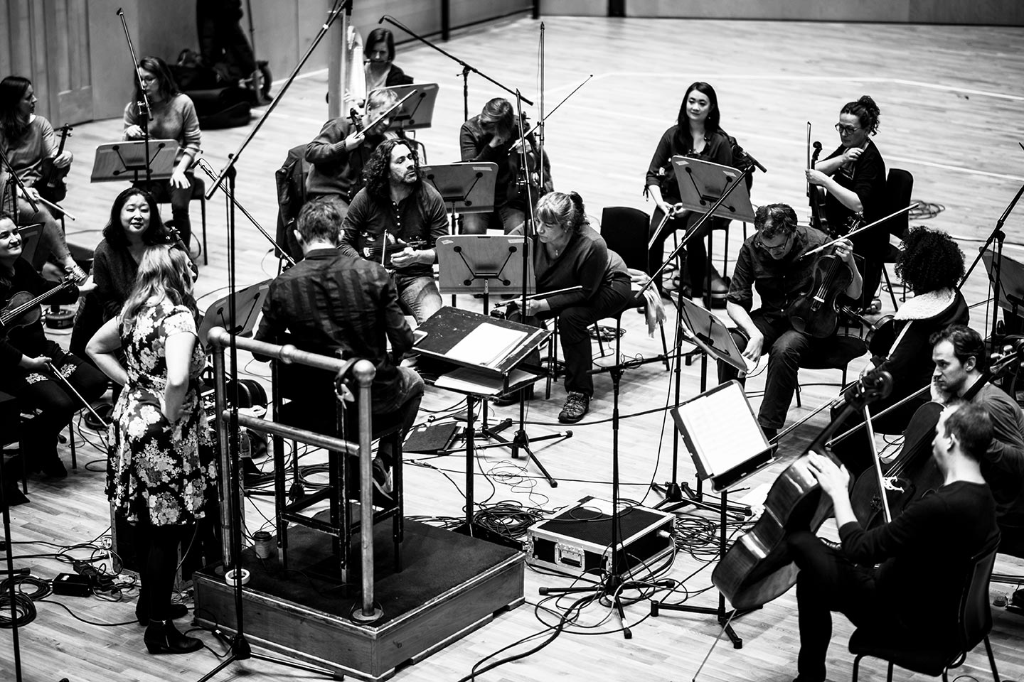 Seonaid Aitken rehearsing with the Scottish Session Orchestra